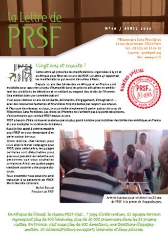 Première page de la Lettre n°48 de PRSF
