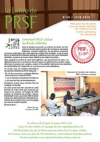Première page de la Lettre n°49 de PRSF