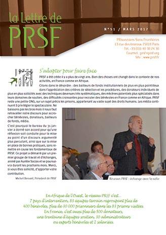 Première page de la Lettre n°51 de PRSF
