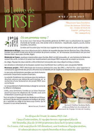 Première page de la Lettre n°52 de PRSF