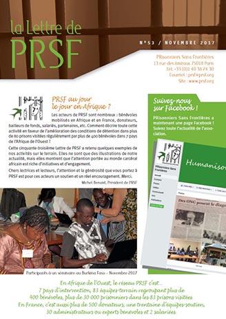 Première page de la Lettre n°53 de PRSF