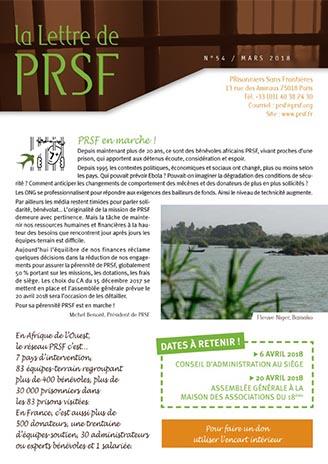 Première page de la Lettre n°54 de PRSF