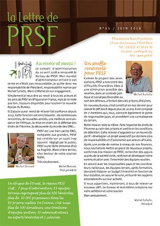 Première page de la Lettre n°55 de PRSF