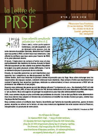 Première page de la Lettre n°58 de PRSF