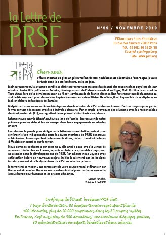 Première page de la Lettre n°59 de PRSF